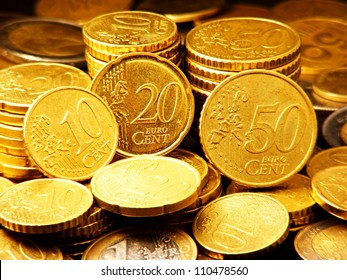 Euro coins. Europe finance system concept.