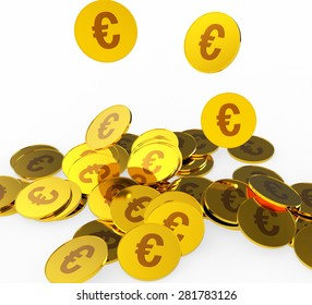 Euro Coins Indicating Cash European And Prosperity