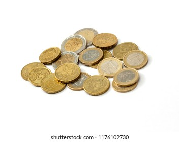 Euro coins isolated on white.