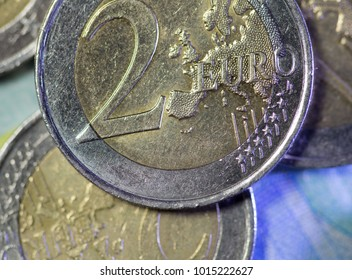 Euro coins in macro