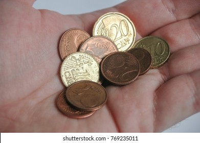 Euro Coins in the man hand