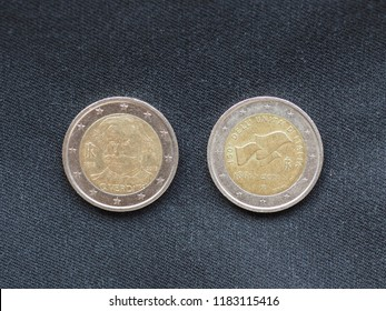 Euro coins money (EUR), currency of European Union - portrait of musician Giuseppe Verdi (born 1813) and celebration of the 150th anniversary of Italy as a united country (1861-2011)