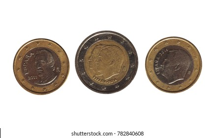 Euro coins money (EUR) from Spain bearing the portrait of former king Juan Carlos I and king Felipe VI (separately on 1 EUR coins and together on 2 EUR coin)