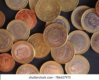 Euro coins money (EUR) from Spain bearing the portrait of former king Juan Carlos I and king Felipe VI