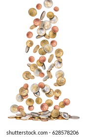 euro coins money rain falling from sky isolated on white background financial business success concept