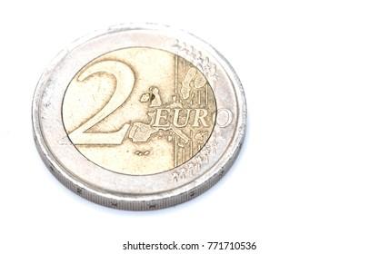 Euro Coins on a White Background