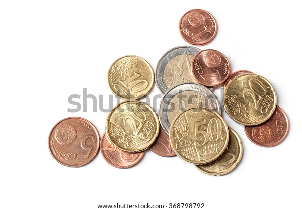 euro coins on white background, abstract background to money and saving concept.