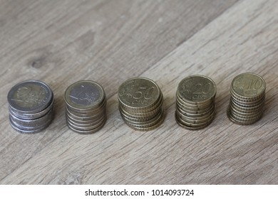 euro coins stacked from big to small