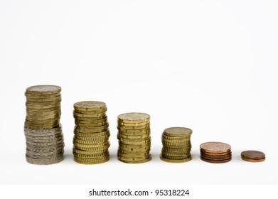 Euro coins stapled into a row