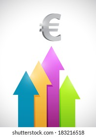 euro colorful business graph moving up. illustration design over a white background