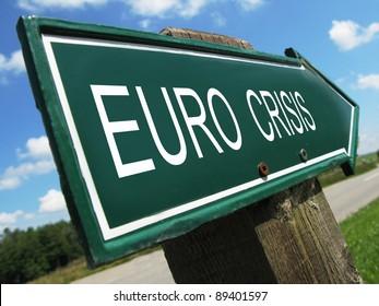 EURO CRISIS road sign