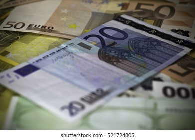 Euro currency background. Twenty euros banknote is the main object.