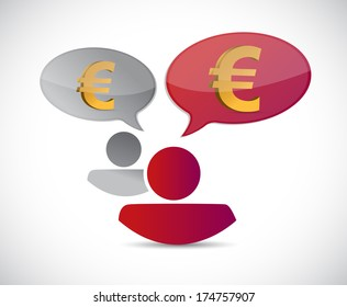 euro currency chat communication illustration design over a white background