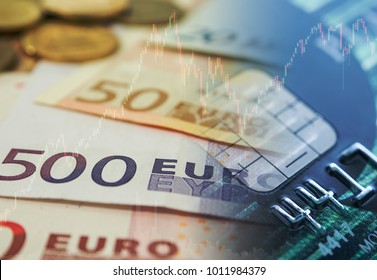 euro currency exchange with credit card and trading stock market graph. investment and finance concept.