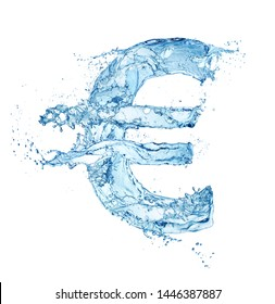 euro currency sign made of water splash isolated on white background