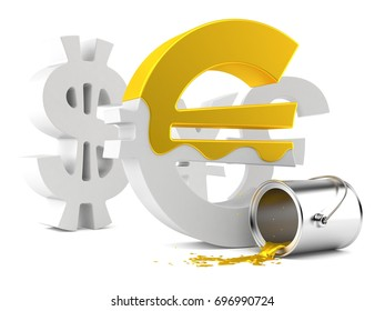 Euro currency symbol with golden paint isolated on white background. 3d illustration