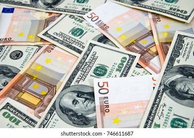Euro and dollar banknotes