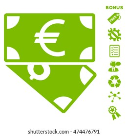 Euro and Dollar Banknotes icon with bonus pictograms. Glyph illustration style is flat iconic symbols, eco green color, white background, rounded angles.