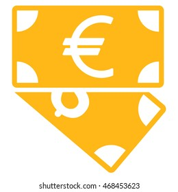Euro and Dollar Banknotes icon. Glyph style is flat iconic symbol with rounded angles, yellow color, white background.