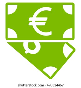 Euro and Dollar Banknotes icon. Glyph style is flat iconic symbol with rounded angles, eco green color, white background.