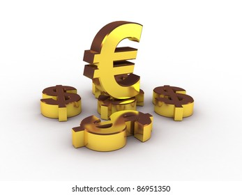 Euro and dollar gold, 3D