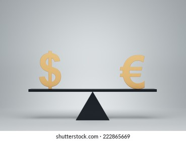 Euro and Dollar on black scale board
