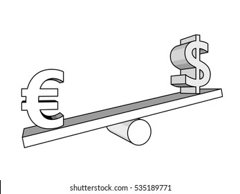 Euro and dollar on seesaw. finance concept