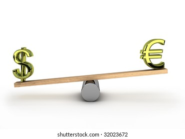 Euro and dollar on a see-saw to test wich one is the heaviest