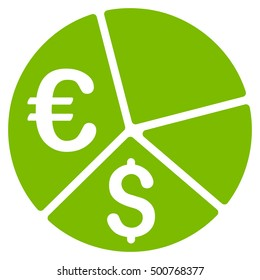 Euro and Dollar Pie Chart icon. Glyph style is flat iconic symbol, eco green color, white background.