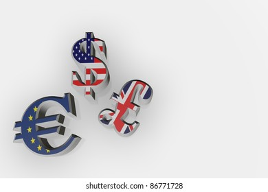 Euro, Dollar, and pound sign made from chrome one a white background