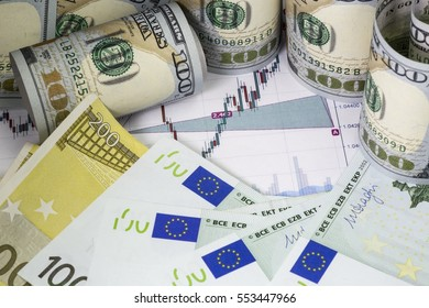 Euro dollar prices chart with japanese candlesticks. Euro bills, rolled hundred us dollars staying on the chart. Part of euro bills with  flag .Concept of currency trading . Macro image.