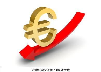 Euro Down Trend Arrow on white background
