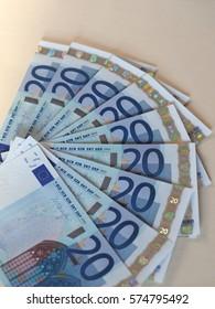 Euro (EUR) banknotes, currency of European Union (EU)