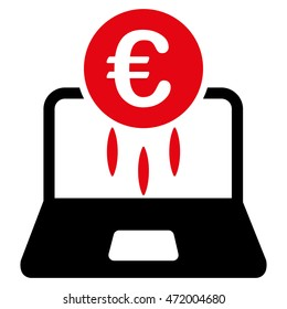 Euro Financial Startup icon. Glyph style is bicolor flat iconic symbol with rounded angles, intensive red and black colors, white background.