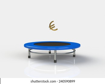 Euro Jumping on a trampoline on a white background