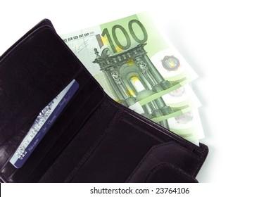 euro and a leather purse closeup
