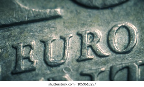 Euro letters on the coin. Super macro shot