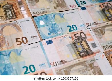 Euro money. Banknotes background for design.