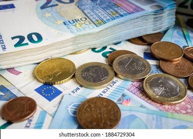 Euro-Geld, Banknoten und Münzen, Währung der Europäischen Union (EUR)