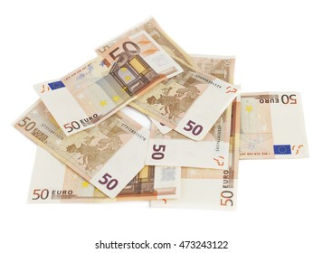 Euro money banknotes isolated on white background. Blurred concept