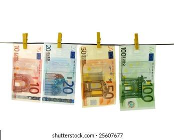 euro money banknotes studio isolated