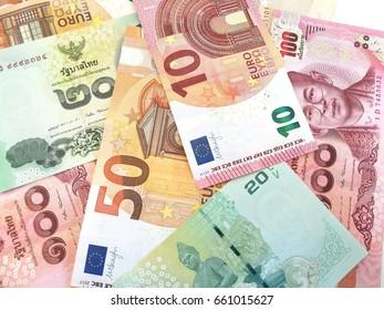 Euro money banknotes and Thai baht money banknotes