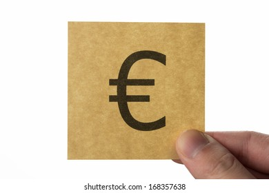 Euro money, brown stick note isolated on white background