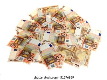 Euro money in bunch