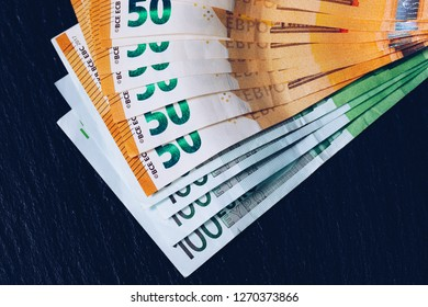 Euro money, Euro cash background. Banknotes of the european union. Euro cash. Many Euro banknotes of different values.