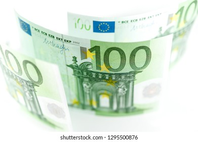 Euro money, Euro cash background. Banknotes of the european union on a white background. Shallow depth of field.