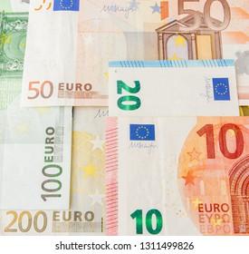 Euro Money. euro cash background. Euro Money Banknotes. Background from different euro banknotes close up.