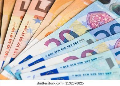 Euro money close-up. Background of euro bills.