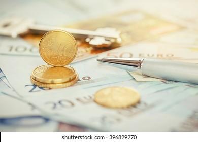 Euro money: closeup of banknotes and coins