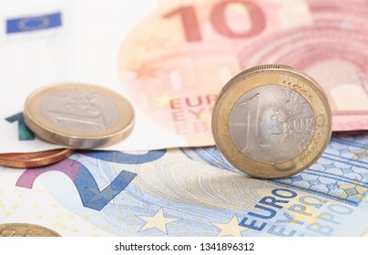 Euro money close-up, image includes coins and banknotes
